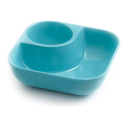 Outset Little Dipper Snack Bowl Pacific Blue - Are you the kind of party guest who doesn't like to share his snacks? Now you can grab your grub and take off to find a defensible position. These individual bowls have a section for snacks and one for your favorite dipping sauce or condiment. They're fully stackable when not in use  and made of 1OO% FDA approved Melamine for durability and safety.Product Features                                   100% FDA approved Melamine            Individual snack bowl with room for dip            Fully Stackable            Dishwasher-safe