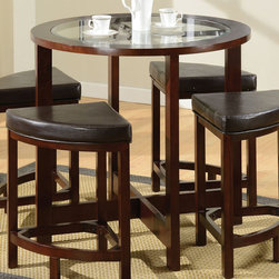 """Acme Furniture - Patia Counter Height Table in Espresso - Patia Counter Height Table in Espresso; Finish: Espresso; Materials: Poplar Wood, Tempered Glass; Weight: 33 lbs; Dimensions: 40""""Dia x 36""""H"""