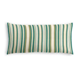 Teal & Green Stripe  Custom Lumbar Pillow - The perfect solo statement on a modern chair or bed, the rectangular lines of the Simple Lumbar Pillow are effortlessly chic. We love it in this teal and green woven stripe that can be as traditional as it is trendy.