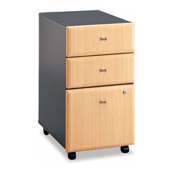 Bush Business - Three Drawer Wood Panel Filing Cabinet - Seri - Here is a sturdy three drawer filing cabinet that will not only give you a reliable place to store all of your important documents, but it will brighten your home or office in the process.  The beautiful wood faced drawers bring a really upscale feeling to the piece despite it being very affordable, not to mention very simple to use.  This three drawer file cabinet is equipped with the best combination of drawers, storage and filling facilities in order to ensure all your files are organized but also your office stationary.  For your convenience this cabinet also has wheels so you can slide it along where you require its presence.  Finished in warm Beech, this versatile cabinet rolls effortlessly on casters and can nestle under most office desks. * Two storage drawers for accessories. Fully extending file drawer with ball-bearing glides. Locking bottom drawers. Smooth casters for portability. Able to slide under desks. Beech finish. 15.512 in. W x 20.276 in. D x 28.15 in. H