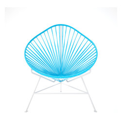 Acapulco Chair, White Frame, Blue - The vinyl cords in this chair make a comfy resting spot inside or outside of your home. The classic design is weather proof and easy to clean with just a wipe of a cloth or spray of the hose. Pick from a rainbow of colors or stick with the iconic black and white design and you can't go wrong.