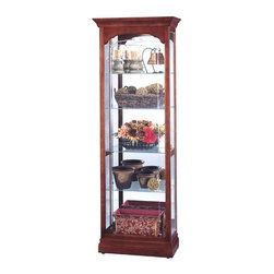 """Howard Miller - Portland Transitional Crystal-Cut Glass Curio - Pad-Lock cushioned metal shelf clips increase stability and safety in this tall and thin curio cabinet for displaying fine treasures and prized possessions with style. Full-length crystal cut glass front, slightly scalloped pediment with flat top and adjustable plate grooved shelving all finished in Windsor Cherry create an instantly elegant display area for your items. * This cabinet offers a flat top pediment and delicately scalloped front with full-length crystal-cut grooved glassA glass mirrored back enhances your treasuresFour glass shelves offer ample space for your collectionA side-opening door provides easy access to shelvesIncandescent lighting illuminates your collectionFinished in Windsor Cherry on select hardwoods and veneersAdjustable levelers under each corner provide stability on uneven and carpeted floorsCabinet is illuminated by an interior lightNo-ReachT light switch is conveniently located on the back of the cabinetPad-LockT cushioned metal shelf clips increase stability and safety79.25""""H x 27""""W x 13.5""""D"""