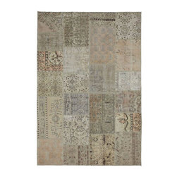 """Pre-owned Sand Grey Peach Overdyed Turkish Patchwork Carpet - Traditional Turkish patterns from an assortment of vintage pieces mix to make this hand made, naturally distressed vintage rug. Full cotton backing and decorative blanket stitch edging.     Remnants of vintage wool on a cotton warp, made entirely by hand in the '60's through '80's when Turkish women still included weaving in their daily homemaking chores. Employing the sturdy double knot technique unique to Turkish rugs, multicolor floral and medallion motifs were created a row at a time using bright hand dyed wools. Considered too old fashioned for modern Turkish homes in their traditional incarnations, these rugs have languished in back rooms of the bazaars‰Ű_until now, as these fragments in excellent condition are overdyed and combined to create modern patchwork statements for the floor.    Note from the seller: """"Our revitalization process keeps rugs that may otherwise get tossed out of landfill. Repurposed discards are helping artisans connect and create, supporting the community we're building here in Istanbul to revive vanishing traditional fiber crafts.‰Űť    Please note that all sales are final - These amazing rugs are coming direct from Istanbul, Turkey and returns will not be allowed."""