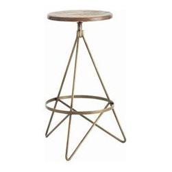 Wyndham Bar Stool by Arteriors Home - This beautiful bar stool has tube shaped triangular iron legs in a vintage brass finish with round wooden swivel seat in distressed wax finish.