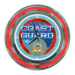 """US Coast Guard 14-in. Neon Wall Clock - The Coast Guard is always ready and the United States Coast Guard 14-in. Neon Wall Clock is always ready to give you the time. Show your patriotism with this piece that has a neon red rim and background with the American flag the word """"""""Coast Guard """""""" and a full-color U.S. coast guard logo. Made with chrome-finished molded resin housing and a bubble acrylic cover this durable analog-style clock is easy to read with its illuminated face. Precision quartz movement operates with one AA battery (included). Clock also includes 110-volt power supply for the neon lights."""
