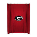 Sports Coverage - Georgia Bulldogs Shower Curtain - This 72 x 72 officially licensed Georgia University Bulldogs shower curtain of jersey material with logo is perfect for any bathroom in need of a little extra team spirit. It weighs approximately one pound and is screen printed with Plastisol. Shower Curtain is 100% Polyester Jersey