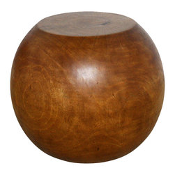 Kammika - Sustainable Mango Wood Ball End Table 20 D x 16 inch H in Eco Fr Livos Oak Oil F - With our Sustainable Mango Wood Ball 20 inch diameter by 16 inch height, with eco friendly Livos Oak Oil Finish, you can welcome the exotic into your home and revel in the harmony of two cultures blending into one. The Mango Ball end table, made of sustainable wood from the mango fruit tree, will create an eclectic splash. Its smoothly rounded shape, hollow interior and flat surfaces serve a very practical purpose. It�s rare to find mango wood of this diameter, so grab one while you can. These functional works of handmade art are designed as end tables for use stand alone or in groups. They can also serve as a temporary party stool, serving table, or bench when put together. Carved from a single piece of Mango wood, these are easily moved around for use in any situation; they are appealing to the viewer from any angle. Hand finished with eco friendly Livos Oak oil, there is no oily feel, and cannot bleed into carpets. Craftspeople from the Chiang Mai area in Northern Thailand create these unique pieces with the simplest of tools. Each piece is a Work of Art, Functional Sustainable Mango Wood Eco Friendly Art! We make minimal use of electric hand sanders in the finishing process. All products are dried in solar and or propane kilns. No chemicals are used in the process, ever. We use only eco friendly, all natural, water resistant food-safe finishes. After each eco friendly piece is carved, kiln dried, sanded, and hand rubbed with Livos eco friendly all natural oil, they are packaged with cartons from recycled cardboard with no plastic or other fillers. The color and grain of your piece of Nature will be unique, and may include small checks or cracks that occur when the wood is dried. Sizes are approximate. Products could have visible marks from tools used, patches from small repairs, knot holes, natural inclusions or holes. There may be various separations or cracks on your piece when it arrives. There may be some slight variation in size, color, texture, and finish.Only listed product included.