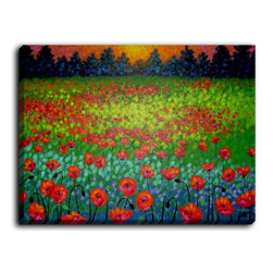 DiaNoche Designs - DiaNoche Canvas Wall Art by John Nolan Evening Poppies - DiaNoche Designs works with artists around the world to create fabulous and unique home decor products.  Canvas Wall Art is the finishing touch to every home, office, nursery, bedroom and living space.  Each artistic wall hanging is a reprint of an original art piece and comes ready to hang with hooks and a backing for a clean look and feel.  The inks are UV tested to ensure a fade free lifetime and can be cleaned with a damp cloth.  These are VERY sturdy creations that adds a touch of your class!  Choose unframed or a colored black or walnut fram made from a textured recycled plastic.