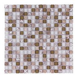 Stone & Co - Stone & Co Mosaic Glass and Stone Mix 5/8 x 5/8 Glass Mosaic Tile Mag 4421 SQ - Finish: Polished / Shiny