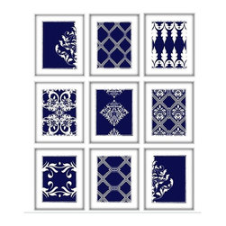 Studio D&K - Navy Blue and White Art Set of 9 Prints Featuring Geometric and Damask Patterns - Set of Nine 8x10 Abstract Art Prints in Navy Blue and White.
