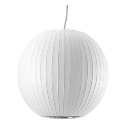 Modernica - Bubble Lamp, Ball, Small | Modernica - Taking its cues from midcentury design, this handcrafted ceiling pendant features a white ridged balloon shade, six feet of white cord and a brushed-nickel ceiling plate. Place one over your breakfast or dining table or near a favorite reading chair for a little earthy, organic enlightenment.