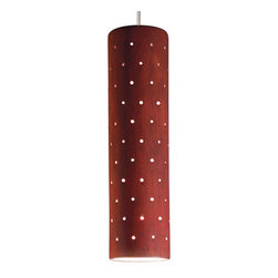 A19 - Stellar Mini Pendant - Red Rock - Like a starry sky, the Stellar mini pendant glows with light through a pattern of tiny perforations over its slim, cylindrical shape. With so many hand-applied glazes to choose from, Stellar can be sleek and urbane, warm and earthy, or light and gentle. Group in a row along a bar or hang at different heights for an entry way.