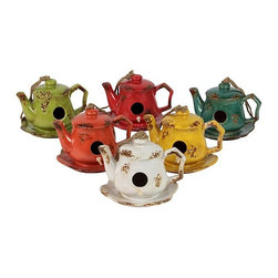 Urban Trends Collection - Ceramic Tea Pot Bird Feeder, Assortment - Includes six tea pot bird feeders. 7 in. L x 6 in. W x 5 in. H (15.4 lbs.)Great addition for your home decor high quality.