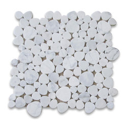 Stone Center Corp - Carrara White Marble Heart Shaped Bubble Mosaic Tile Polished Carrera - Premium Grade Heart Shaped Carrara Marble Mosaic tiles. Italian Bianco Carrera White Venato Carrara Polished 12 x 12 Random Heart-Shaped Bubble Pattern Wall & Floor Tiles are perfect for any interior/exterior projects. The Carrara White Marble Heart Shaped Bubble Pattern Mosaic tiles can be used for a bathroom flooring, shower surround, gardern, paving, balcony, corridor, terrace, spa, pool, fountain, etc.