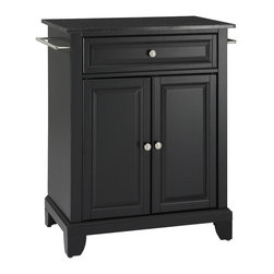 Crosley - Newport Solid Black Granite Top Portable Kitchen Island in Black Finish - Constructed of solid hardwood and wood veneers, this kitchen island is designed for longevity. The beautiful raised panel doors and drawer front provide the ultimate in style to dress up your kitchen. The deep drawer are great for anything from utensils to storage containers. Behind the two doors, you will find an adjustable shelf and an abundance of storage space for things that you prefer to be out of sight. Style, function, and quality make this kitchen island a wise addition to your home.