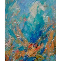 Fathoms' Abstract Painting With Blues And Coral  (Original) by Russ Potak - Mysterious deep sea setting with aqua blues and coral dashes of light. The impression of fish and undersea life in an undersea landscape. Vertical format. A great accent piece. Relaxing. Soothing. An original Potak.