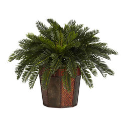 Nearly Natural - Cycas with Octagon Vase Silk Plant - A certain crowd pleaser for any occasion, this leafy Cycas display will add a certain touch of class to any home or office decor. Care and upkeep for this plant will be a breeze, as it will always look its best with its lush greenery (just dust it once in a blue moon!) And with its included elegant vase, the Cycas will add a level of sophistication to any environment.