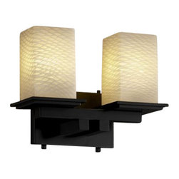 Justice Design Group - Justice Design Group FSN-8672 Montana 2 Light Bathroom Bar Fixture Fusi - Justice Design Group FSN-8672 Montana 2 Light Bathroom Bar Fixture from the Fusion CollectionThe Fusion Collection offers a selection of handcrafted artisan glass shades. The collection consists of four distinctive glass finishes: Droplet, Ribbon, Weave, and Opal (white). These especially beautiful artisan glass finishes complement the clean designs of Justice Design fixtures.From an elegant lamp atop a contemporary end table to a dramatic sconce illuminating a formal entryway, Justice Design offers a wide array of lighting solutions for residential and commercial settings. Create a mood, complement a theme, or simply add the perfect accent with a Justice Design decorative lighting fixture.
