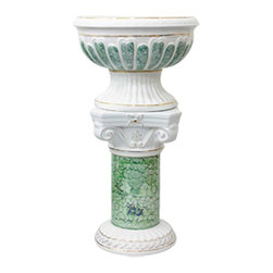 Renovators Supply - Planters White Ceramic Ceramic Pedestal & Vase 35 H x 18 Dia - Pedetal Planters. Ceramic Pedestal & Vase make for luxurious decor indoor or out. Use this decorative column as a plant stand or other architectural element in a room, outside patio or balcony. Showcase a favorite plant or bouquet of flowers.