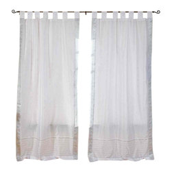 Indian Selections - Pair of White Silver Tab Top Sheer Sari Curtains, 60 X 84 In. - Size of each curtain: 60 Inches wide X 84 Inches drop. Sizing Note: The curtain has a seam in the middle to allow for the wider length