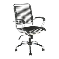 Euro Style - Euro Style Bungie J-arm Office Chair X-85520 - If you didn't know, in design speak, Bungie means 'this is so comfortable I never want to stand up!'  The J-Arm takes this concept to the extreme in strength and comfort.  The way the cords support your legs is almost decadent.
