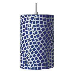 A19 Lighting - Channels Modern Mosaic Pendant Light - Cobalt Blue - Meandering Paths Give An Organic Appeal To The Channels Pendant, Combined With The Pizzazz Of The Hand-Applied, Cobalt Blue High-Gloss Glaze. The Opaque Ceramic Shade Blocks Glare While Providing Generous Energy Efficient Down-Lighting.Height:9.5