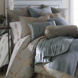 Fino Lino Linen & Lace - King Striped Sham - SLATE BLUE BROWN - Fino Lino Linen & LaceKing Striped Sham