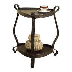Monarch - Bronze Metal/Brown Veneer Top Accent Table - Jazz up your home with this dark walnut deep tray storage and bronze metal bent sides accent table. You will love the way this transforms your room into a designer's palace.