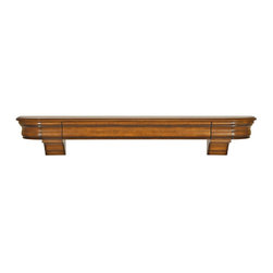 """Pearl Mantel - The Abingdon Fireplace Surround, Medium Distressed Finish, 72"""" - Time for your treasures to move to higher ground. This surround shelf offers safe haven for all the things that you hold precious."""