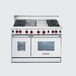 """48"""" Gas Wolf Range - Here's a range that turns cooks on. One convection oven with infrared broilers and one non-convection oven. And customizing opportunities galore. Options include a French Top, an infrared griddle and an infrared charbroiler. Chef's choice"""