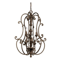 Kichler Lighting - Kichler Lighting KCH-43282-TRZ Mithras 6-Light Traditional Classic Chandelier - Romantic curves and refined styling make this 6 light chandelier foyer cage from the Mithras collection an elegant showpiece. Featuring a unique Terrene Bronze™ finish, this design will elevate and enhance your home.