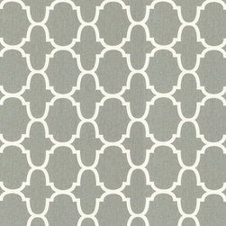 "Ballard Designs - Trellis Gray Fabric by the Yard - Content: 100% cotton. Repeat: Non-railroaded fabric, 6 3/4"" Repeat. Care: Dry Clean. Width: 54"" wide. Off-white and gray trellis printed on 100% cotton.. . . . Because fabrics are available in whole-yard increments only, please round your yardage up to the next whole number if your project calls for fractions of a yard. To order fabric for Ballard Customer's-Own-Material (COM) items, please refer to the order instructions provided for each product. Ballard offers free fabric swatches: $5.95 Shipping and Processing, ten swatch maximum. Sorry, cut fabric is non-returnable."