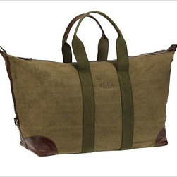 """Union Recycled Canvas Weekender Bag, Moss - With its distressed leather detailing and roomy interior, our weekender bag makes a stylish and ecologically friendly travel companion when packing light or carrying on board. 22.5"""" wide x 17.5"""" deep x 10.5"""" high Made of recycled canvas with a tea-stained and green dyed finish; leather and brass metal hardware. The natural fiber content of the canvas creates color variations, making each bag slightly unique. Lined with cotton. Spot clean. Monogramming is available at an additional charge. Monogram will be centered between the straps on one side of the bag. Catalog / Internet Only. Imported."""