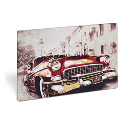 """Vertuu Design - 'Vintage Car in Red' Artwork - Get a cool, retro vibe in your home with the """"Vintage Car in Red"""" Artwork. This giclee printed canvas features a neutral city street background that offsets the car's hand-painted red and yellow embellishments. Display it in a bedroom or office for a bold, bright look."""