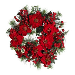 Nearly Natural - 24 Inch Poinsettia Wreath - Bursting with bright reds, lush greens, and plump berries, this incredible wreath embodies the festive delight that is the holiday season. A full 24 round, it certainly commands attention, and serves as the perfect holiday welcoming plant on your front door (or anywhere else you wish to bring some holiday cheer!).