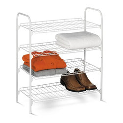 Honey Can Do - 4 Tier Wire Shoe & Accessory Shelf/Closet She - Space saver- fits under hanging clothes. Versatile design- keeps shoes, sweaters, purses or linens organized. Coated steel frame- sturdy and rust resistant. 24.41 in. x 11.02 in. x 27.76 in.