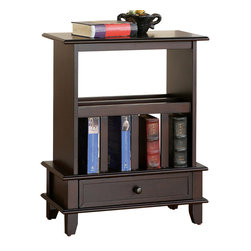 Steve Silver - Jordan Chairside End Table Cherry - This Jordan End Table comes in cherry or oak and is a perfect addition for a bedside area or living room. It features storage for books, magazines, or even a laptop computer. The piece maintains an air of simple functional elegance for any room.