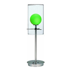 Burst Halogen Double-Glass Table Lamp Polished Steel - This clear cylinder glass shade encased with a green glass ball will burst up any room. On/Off base switch.