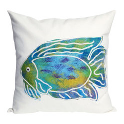 Home Infatuation - Batik Fish Aqua Outdoor Pillow, 20'' x 20'' - The fun colors, fishy pattern and softness of this indoor/outdoor pillow will have you swimming in style. It's made in an antimicrobial, polyester microfiber fabric that can withstand outdoor use and comes with a zippered cover in your choice of sizes.