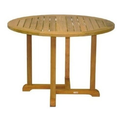 "Oxford Teak 42"" Round Dining Table - Simple yet sturdy, the oxford dining tables are available in various sizes to accommodate all living space needs."