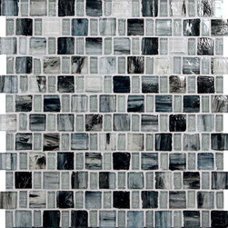 "Glass Tile Oasis - Grey Sky 1"" x 1"" Grey Pool Glossy Glass - Sheet size:  12 3/4"" x 12 3/4"".     Tile Size:  1"" x 1"" and 1/2"" x 1""     Tiles per sheet:  192     Tile thickness:  1/4""    Recycled Components:  25-70%     Sheet Mount: Paper Face      Sold by the sheet      -  These tiles are each a one of a kind work of art. Each of the six styles feature complimentary colors  shot through with transparent layers of contrasting colors  giving the tiles a unique feeling of depth. They are stacked into square and rectangular sizes to create a unique repeating pattern.These tiles are hand-poured and will have a certain amount of variation and variegation of color  tone  shade and size. Additionally  you will notice creases  wrinkles  shivers  waves  bubbles topped off with a natural surface to catch all forms of light for a brilliant effect. These characteristics of natural glass only serve to enhance the final beauty of the installation."