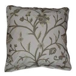 Crewel Fabric World - Crewel Pillow Tree of Life Neutrals on White Cotton Duck 20x20 Inches - Artisans in a remote mountain village in Kashmir crewel stitch these blossoms, vines and leaves by hand, resulting in a lush pattern of richly shaded wool yarns on Linen, Cotton, Velvet, Silk Organza, Jute. Also backed in natural linen, Cotton, Velvet Silk Organza, Jute with a hidden zipper.