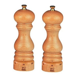 "Peugeot - Peugeot Paris u'Select 9"" Natural Salt & Pepper Mill - The high quality beech wood used in Peugeot mills is grown, harvested, dried, shaped and finished in France. This Peugeot Paris Salt & Pepper Mill Set has a beautiful natural varnished finish. For Paris u'Select mills, the grind is adjusted by turning the ring at the bottom of the mill. Turning the ring in one direction makes the grind finer, turning in the other makes it coarser. Once the grind size is set, it will stay in place until the user changes it.   Peugeot uSelect is a patented system that enables precise grind adjustment settings. 6 pre-defined levels of grind for pepper and 6 pre-defined levels of grind for salt.  The entire Peugeot mill is guaranteed against manufacturing and materials defect for 2 years from the date of purchase, however the grinding mechanism carries a similar guarantee for lifetime. These guarantees do not cover normal wear, accidental damage or any use not in accordance with the instructions provided. Buy One Get One 1/2 OFF pricing on this Salt & Pepper grinder together!"