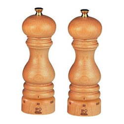 "Peugeot - Peugeot Paris u'Select 9"" Natural Salt and Pepper Mill Set - The high quality beech wood used in Peugeot mills is grown, harvested, dried, shaped and finished in France. This Peugeot Paris Salt and Pepper Mill Set has a beautiful natural varnished finish. For Paris u'Select mills, the grind is adjusted by turning the ring at the bottom of the mill. Turning the ring in one direction makes the grind finer, turning in the other makes it coarser. Once the grind size is set, it will stay in place until the user changes it."