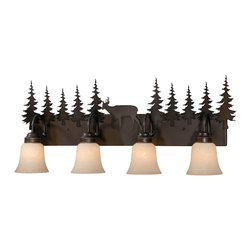 Vaxcel - Bryce Burnished Bronze 4 Light Vanity - Vaxcel VL55404BBZ Bryce Burnished Bronze 4 Light Vanity