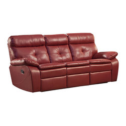 Homelegance - Homelegance Wallace Leather Double Reclining Sofa in Red - The spirited color offerings of the Wallace Collection makes this group a fun addition to your home's living room. Offered in red or black bonded leather match, each piece is the ultimate expression of your personality. Building onto to the look of the group is comfort and function. Each piece features tufting that provides support and style along with a reclining mechanism. Both the sofa and love seat feature dual reclining while the chair features not only a reclining mechanism but glider function as well.