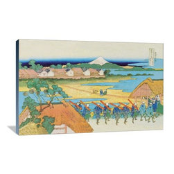 """Artsy Canvas - Japanese Army Drill 36"""" X 24"""" Gallery Wrapped Canvas Wall Art - Japanese Army Drill - Katsushika Hokusai (1760 beautifully represented on 36"""" x 24"""" high-quality, gallery wrapped canvas wall art"""