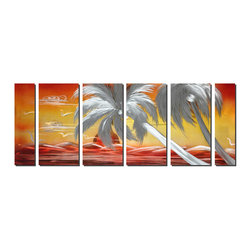 Pure Art - Red Sun Setting Tropical Wall Art Set of 6 - This wall art is so amazingly detailed that you can almost feel the heat on your face and tropical breeze in your hair. It features a pair of swaying palm trees in the foreground, while in the background, the sun hides behind rolling surf. Gulls, clouds, coconuts and palm fronds add realistic detail against a blend of hot tropical colors.Made with top grade aluminum material and handcrafted with the use of special colors, it is a very appealing piece that sticks out with its genuine glow. Easy to hang and clean.