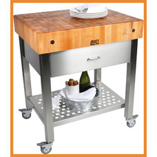 John Boos Cucina D'Amico Cart with Stainless Steel Drawer and Apron