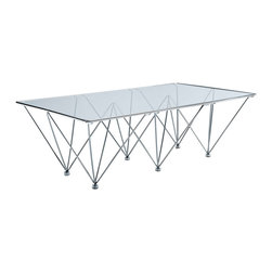 LexMod - Prism Rectangle Coffee Table in Clear - There is so much you can do with light. When accompanied by Prism, the possibilities are truly endless. Refract and reflect on what matters most, as you sit leisurely among the exquisite array of shimmer and shadow. Prism is topped with a thick tempered glass top, and supported by the geometrically stunning brushed stainless steel frame. Distinctly modern for its subtle yet deliberate effect, the Prism Rectangular Coffee Table is best suited for light-filled reception and lounge areas of import.